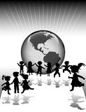 Kids. Silhouettes and planet earth Stock Photo