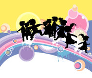 Kids. Funky Kids ; silhouettes at play Royalty Free Stock Photography