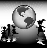 Kids. Silhouettes and planet earth Royalty Free Stock Images