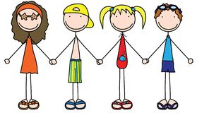 Kids. Illustration of four kids holding hands in summer clothes Stock Photo