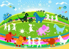 Kids. Cars and animals; sunny day Royalty Free Stock Image