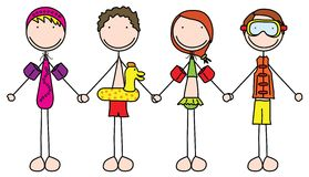 Kids. Illustration of four kids holding hands in summer clothes royalty free illustration