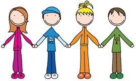 Kids. Illustration of four kids holding hands Royalty Free Stock Photography