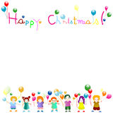 Kids. Colorful design; happy little friends celebrating Christmas Vector Illustration