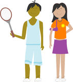 Kids. Sporty boy with tennis racket and girl with purse stock illustration