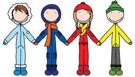 Kids. Illustration of four kids holding hands Stock Photo
