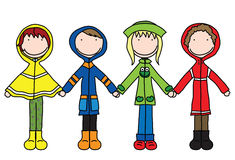 Kids. Illustration of four kids in raincoats holding hands Stock Photo
