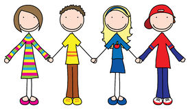 Kids. Illustration of four kids holding hands Stock Image