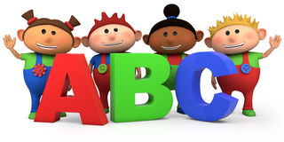 Kids with ABC letters. Cute multi-ethnic kids with ABC letters - high quality 3d illustration Royalty Free Stock Image