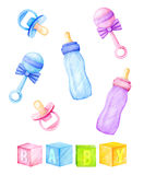 Kids accessories - bottles, nipples, rattles. Watercolor illustration Stock Images