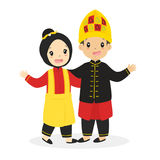 Kids in Aceh Traditional Dress Cartoon Vector. Indonesian boy and girl wearing Aceh traditional dress, cartoon illustration stock illustration