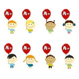 Kids Achievement set vector illustration.Smiling children looking up with red balloons in hands with A mark Royalty Free Stock Images
