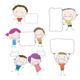 Kids action  holding white label hand drawn  vector Stock Image