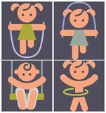 Kids activities icons Royalty Free Stock Photos