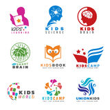 Kids for Activities and learning logo vector set design Royalty Free Stock Photos