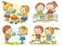 Kids' Activities Set. Set of four cartoon illustrations with kids' communication and common activities, no gradients Royalty Free Stock Photography