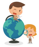 Kids activity. Discovery kids. It is flat character design and illustration Royalty Free Stock Image