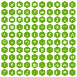 100 kids activity icons hexagon green. 100 kids activity icons set in green hexagon isolated vector illustration Royalty Free Stock Photo