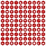100 kids activity icons hexagon red. 100 kids activity icons set in red hexagon isolated vector illustration Stock Illustration