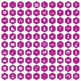 100 kids activity icons hexagon violet. 100 kids activity icons set in violet hexagon isolated vector illustration stock illustration
