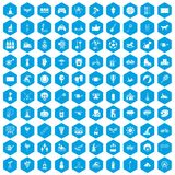 100 kids activity icons set blue. 100 kids activity icons set in blue hexagon isolated vector illustration Royalty Free Stock Images
