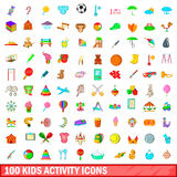 100 kids activity icons set, cartoon style. 100 kids activity icons set in cartoon style for any design vector illustration Royalty Free Stock Images