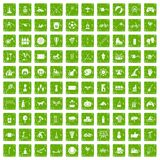 100 kids activity icons set grunge green. 100 kids activity icons set in grunge style green color isolated on white background vector illustration Royalty Free Stock Photography