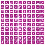 100 kids activity icons set grunge pink. 100 kids activity icons set in grunge style pink color isolated on white background vector illustration Vector Illustration
