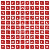 100 kids activity icons set grunge red. 100 kids activity icons set in grunge style red color isolated on white background vector illustration Stock Images