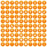 100 kids activity icons set orange. 100 kids activity icons set in orange circle isolated on white vector illustration Vector Illustration