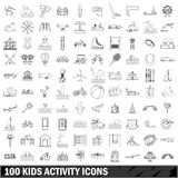 100 kids activity icons set, outline style Royalty Free Stock Photography