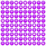 100 kids activity icons set purple. 100 kids activity icons set in purple circle isolated on white vector illustration Royalty Free Illustration