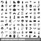100 kids activity icons set, simple style. 100 kids activity icons set in simple style for any design vector illustration Stock Photo