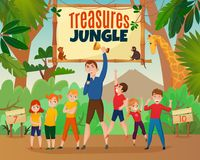 Kids Activity Show. Kids activity TV show with treasures and jungle symbols flat vector illustration vector illustration