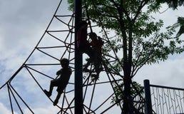 Kids advanture on climbing cargo rope net Royalty Free Stock Photo
