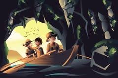 Kids on an adventure trip. A vector illustration of happy kids on an adventure trip stock illustration