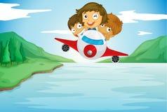Kids and aeroplane Royalty Free Stock Image