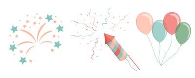 Kids air ballons, salute, firework, confetti, petard. Cartoon kids air ballons, salute, firework, confetti petardVector illustration Stock Photography