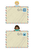Kids airmail. Boy and girl holding airmail lettersl ready for your text Stock Image