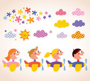 Kids in airplanes design elements set. Cute kids in airplanes design elements set royalty free illustration