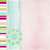 Kids album cover. Abstract lines background with lace stripe and decorative flower Stock Photography