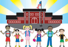 Kids of all ages and races at School. Kids of all ages and races ready for school with their backpacks on vector illustration