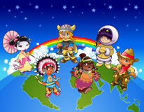 Kids from all over the world. Funny cartoon and vector illustration Stock Photography