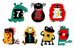 Kids alphabet with сcute colorful monsters or insects. Funny fictional character with numbers in their paws. Kids alphabet with сcute colorful stock illustration