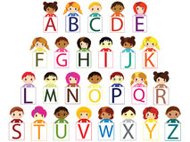 Kids alphabet. Vector illustration of kids alphabet font Stock Photo