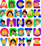 Kids Alphabet/ai. Illustration of a colorful alphabet with a diverse group of children's faces Stock Photos