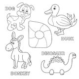 Kids alphabet coloring book page with outlined clip arts. Letter D. Dinosaur, dog, duck, donkey stock illustration
