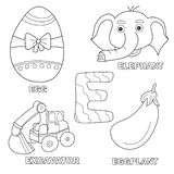 Kids alphabet coloring book page with outlined clip arts. Letter E. Egg, excavator, elephant, eggplant vector illustration