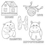 Kids alphabet coloring book page with outlined clip arts. Letter H. Hamster, house, hive, hippo stock illustration
