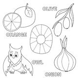 Kids alphabet coloring book page with outlined clip arts. Letter O. Onion, owl, olives, orange stock illustration